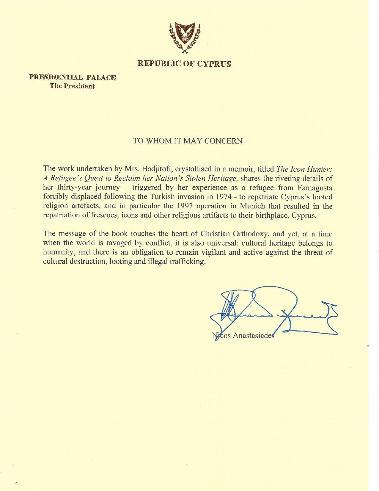 letter from the president of cyprus